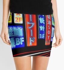 Neon Japanese Signs Mini Skirt