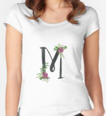 Monogram M with Floral Wreath Fitted Scoop T-Shirt