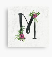 Monogram M with Floral Wreath Canvas Print