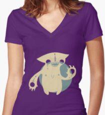 Monster Cat Women's Fitted V-Neck T-Shirt