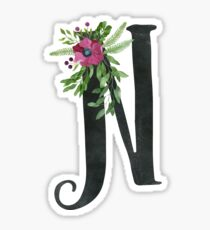 Monogram N with Floral Wreath Sticker