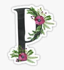 Monogram P with Floral Wreath Sticker