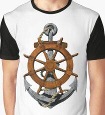 Nautical Ships Wheel And Anchor Graphic T-Shirt