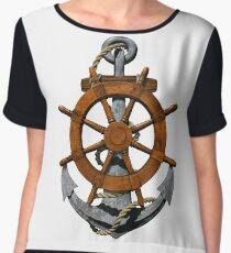 Nautical Ships Wheel And Anchor Women's Chiffon Top
