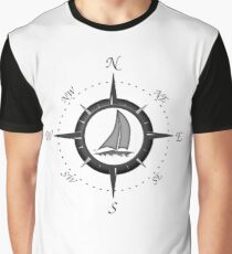 Sailboat And Compass Rose Graphic T-Shirt