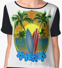 Sunset And Surfboards Chiffon Top