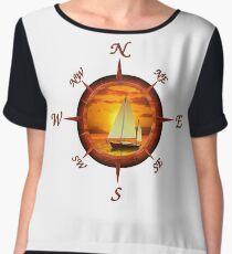 Sailboat And Compass Women's Chiffon Top