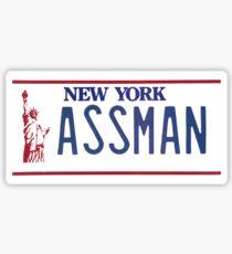 Cosmo Kramer Seinfeld Assman New York NY plate Sticker