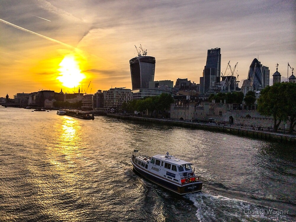 Sunset from Tower Bridge by Ludwig Wagner