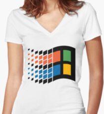 Windows 95 Logo Women's Fitted V-Neck T-Shirt