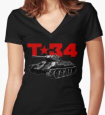 T-34 Women's Fitted V-Neck T-Shirt