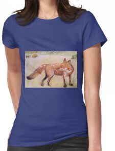 Fox on farm by Liz H Lovell Womens Fitted T-Shirt