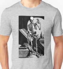 Skeleton with hour glass, As time goes by Unisex T-Shirt