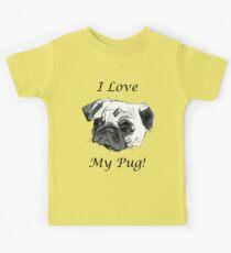 I Love My Pug! T-Shirt , Hoodie, Phone Cases & More! Kids Tee