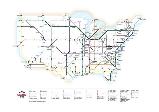 U S Interstate Highways As A Subway Map By Cameron Booth