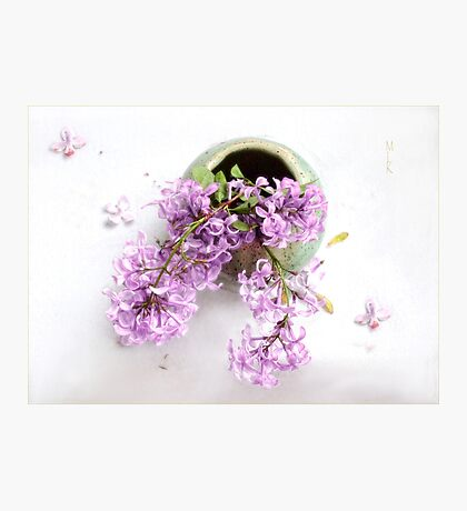 Lilacs in a Green Vase Photographic Print