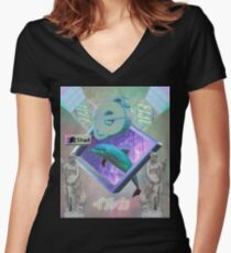 Vaporwave dolphin explores the Internet Women's Fitted V-Neck T-Shirt