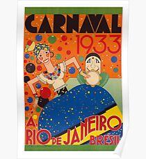 Brazil Carnival 1933 Vintage World Travel Poster by Renato Poster