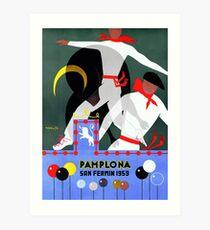 Lámina artística Cartel del festival de 1959 Pamplona San Fermin