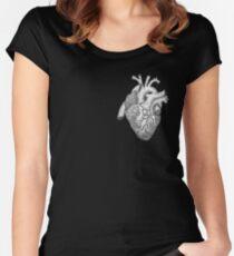 Anatomische Herz-Tinten-Illustration Tailliertes Rundhals-Shirt