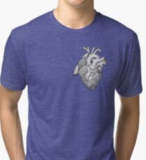 Anatomical Heart Ink Illustration Tri-blend T-Shirt