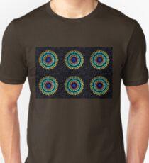 Kaleidoscope Patterns Against Black T-Shirt