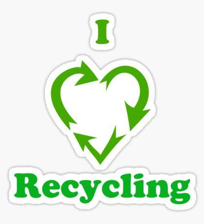 I Heart Recycling ( T-Shirt & Sticker ) Sticker