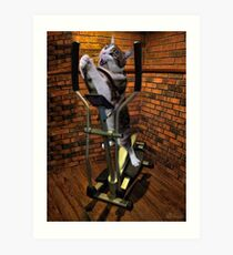 """MOM BRING ME SOME WATER THIS WORKOUT IS KILLING ME"" CAT-FELINE EXERCISE PICTURE/CARD Art Print"