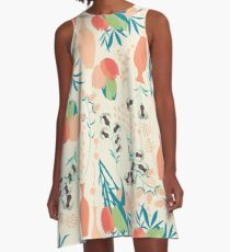 Spring flower pattern, tulips and lilies, 006 A-Line Dress