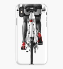 Sexy woman in red high heel shoes and stockings riding bicycle art photo print iPhone Case/Skin