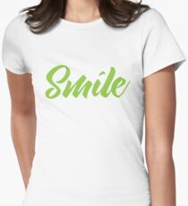 SMILE (in green) Womens Fitted T-Shirt