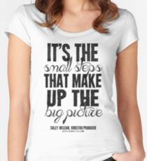 Small Steps Big Picture Black Text T-shirts & Homewares Women's Fitted Scoop T-Shirt