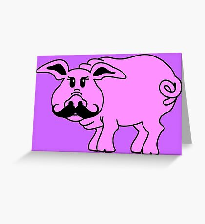 Hipster Pig VRS2 Greeting Card