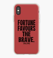 Fortune Favours The Brave Black Text T-shirts & Homewares iPhone Case