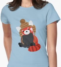 Collin the Beanie-Wearing Red Panda Women's Fitted T-Shirt