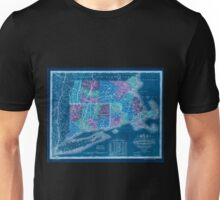 0049 Railroad Maps Map of Massachusetts Connecticut and Rhode Island constructed from the latest Inverted Unisex T-Shirt