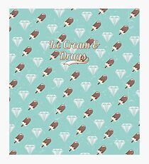 Retro Ice Cream & Drugs Pattern (Blue) Photographic Print