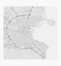 Dublin, Ireland Map. (Black on white) Photographic Print
