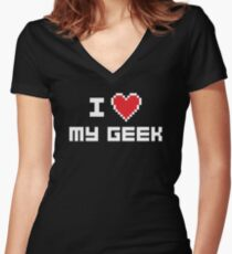 I Love My Geek Women's Fitted V-Neck T-Shirt