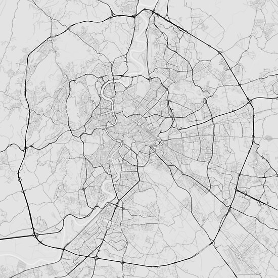Rome, Italy Map. (Black on white) von Graphical-Maps
