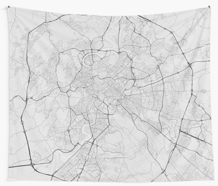 Italy Map Black And White.Rome Italy Map Black On White Wall Tapestries By Graphical Maps