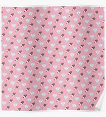 Retro Ice Cream & Drugs Pattern Only (Pink) Poster
