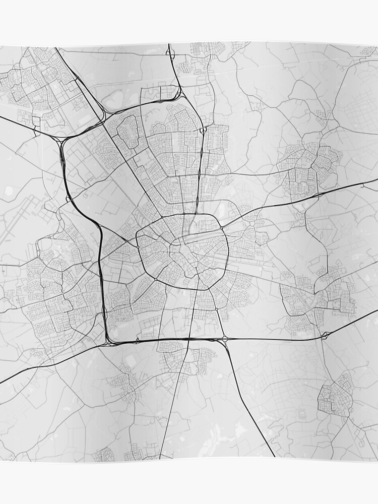 Eindhoven, Netherlands Map. (Black on white) | Poster