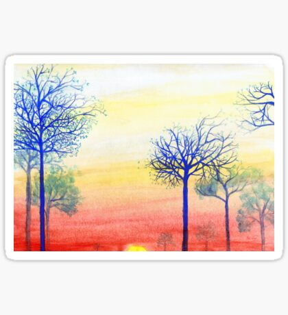 Sunset with Blue Trees Sticker