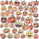 Halloween Jack O Lantern Doodle Pattern by shortandsharp