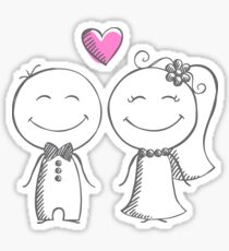 bride and groom, pencil sketch Sticker