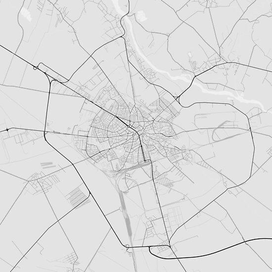 Ploiesti, Romania Map. (Black on white) von Graphical-Maps