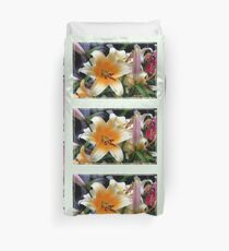 Tequila Sunrise Lily with Raindrops Duvet Cover