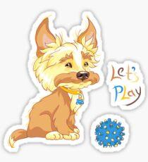 Сute redhead shaggy puppy Sticker