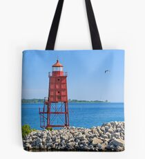 Racine North Breakwater Lighthouse Tote Bag